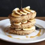 Almond Butter and Banana Stuffed Whole Wheat Pancakes