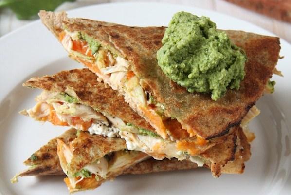 Spinach Hummus & Sweet Potato Goat Cheese Quesadilla