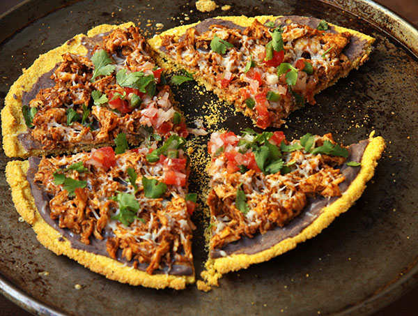 Healthy Chicken Tamale Pizza made with 2 Ingredient Cornmeal Crust I 24 Carrot Life #pizza #glutenfree #mexican #reciperedux