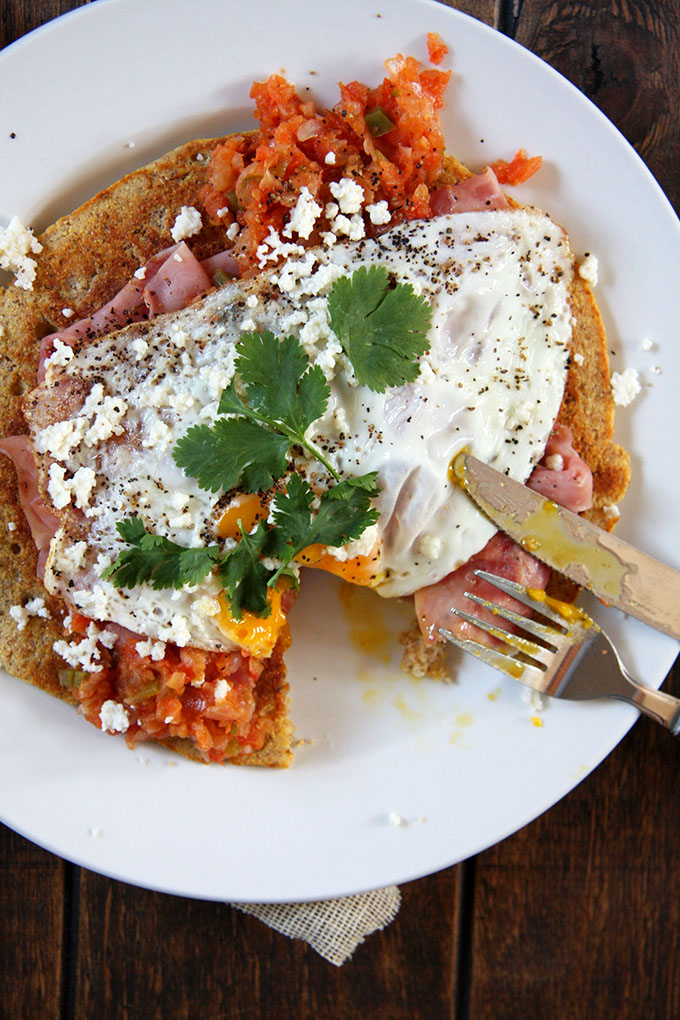 Huevos Rancheros with a Cornmeal Pancake I 24 Carrot Life