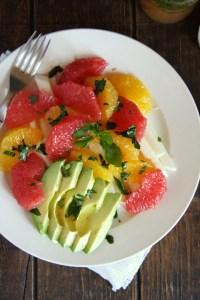 http://24carrotlife.com/2014/04/11/spring-citrus-salad-honey-mint-vinaigrette-fiesta-fridays/