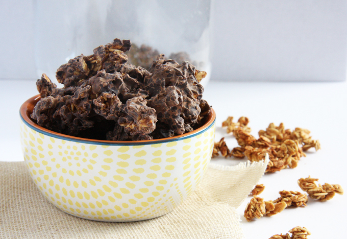 Chocolate Covered Granola Clusters // 24 Carrot Life #lowfat #healthy #vegan #glutenfree