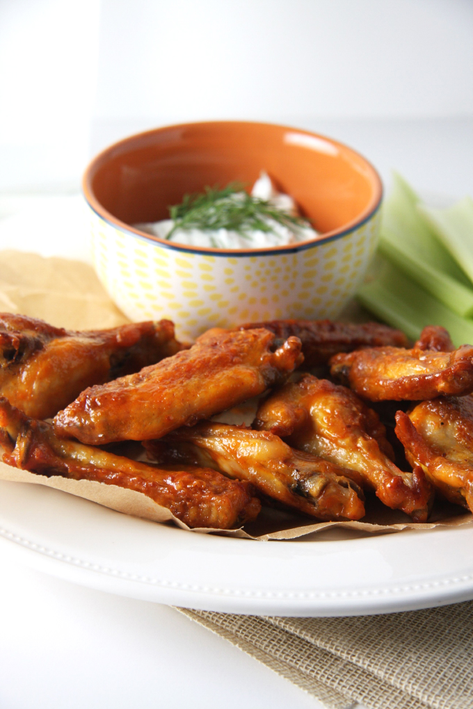Baked Buffalo Chicken Wings with Dill Goat Cheese Dip // 24 Carrot Life #reciperedux #frankshotsauce #gamefood