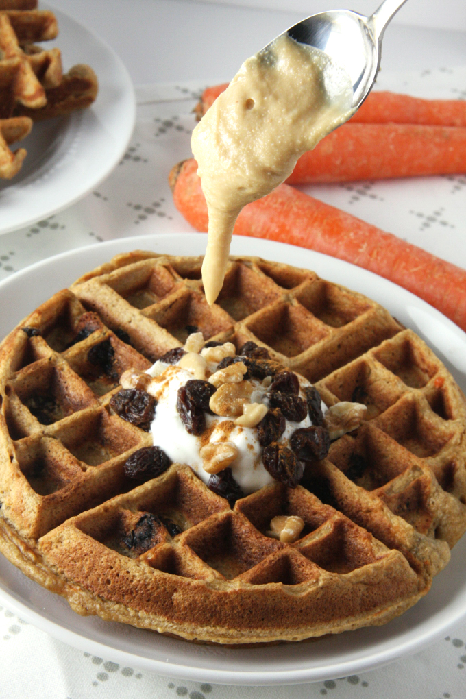 Fluffy Carrot Cake Waffles (just 300 calories each!) // 24 Carrot Life #healthy #waffles #carrots #raisins #glutenfree