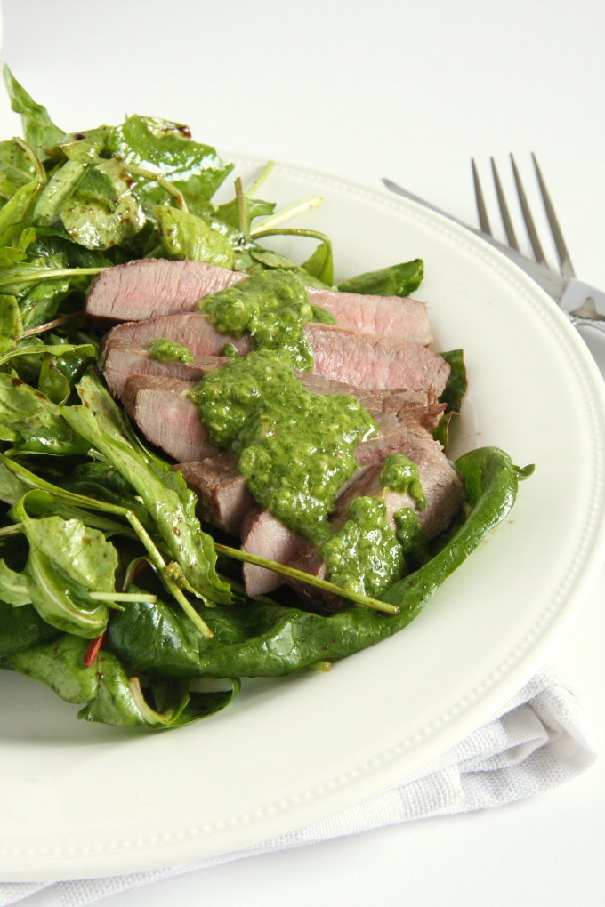 Steak Salad with Chimichurri Sauce // 24 Carrot Life #steak #protein #healthy
