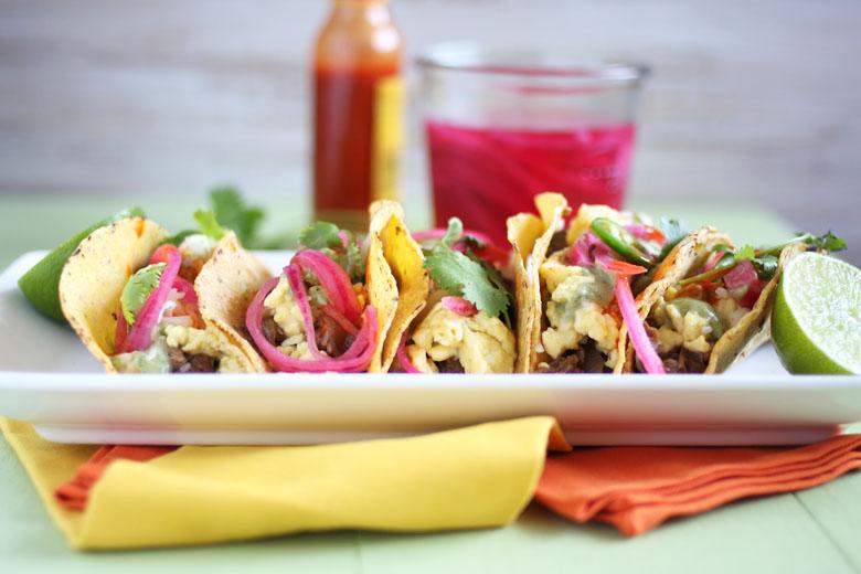 Shredded Beef Breakfast Tacos // 24 Carrot Life #crockpot #beef #ad #tacos #healthy