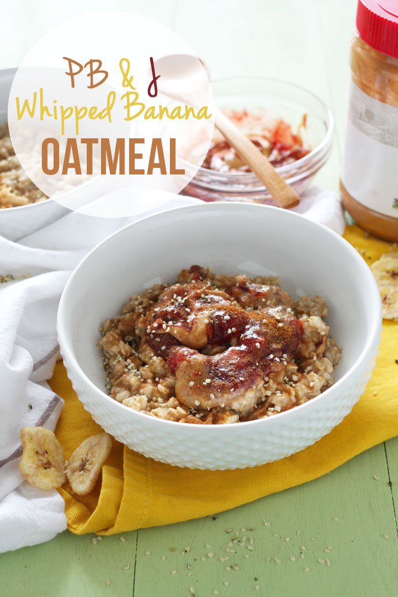 PB & J Whipped Banana Oatmeal // Oats whipped with ripe banana and topped with peanut butter and jelly swirl // 24 Carrot Life
