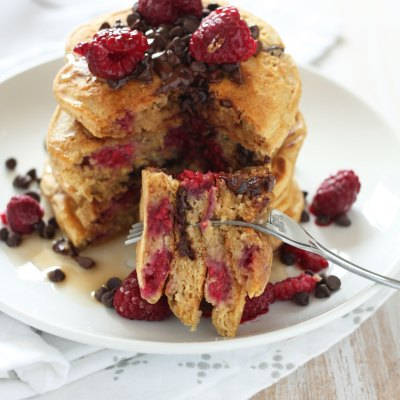 Raspberry Chocolate Chip Whole Wheat Pancakes
