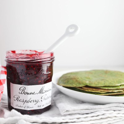 Matcha Crepes with Raspberry Preserves