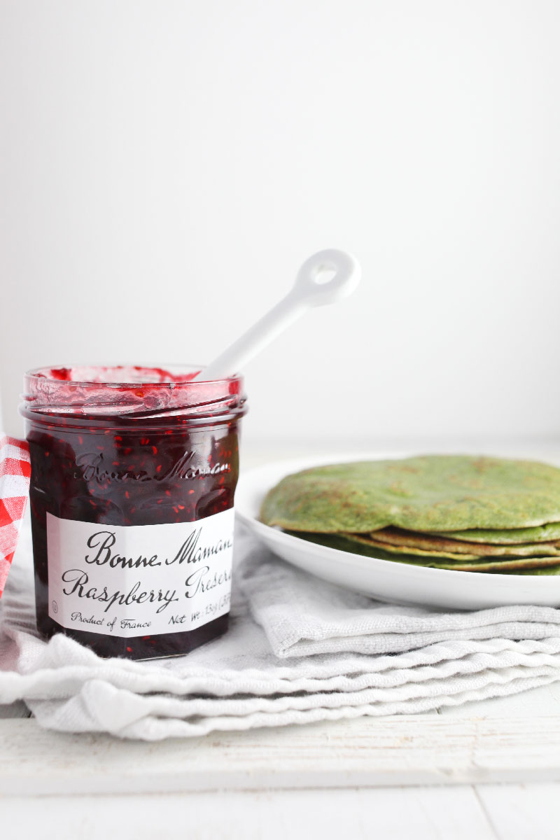 Matcha Crepes with Raspberry Preserves and Chocolate- the perfect Mother's Day breakfast in bed option! // 24 Carrot Life