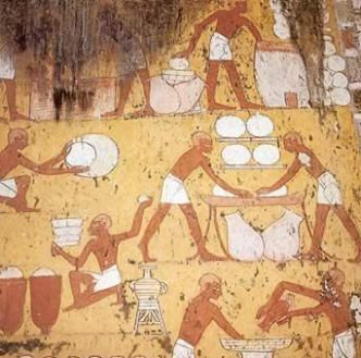 What appears to be a cheesemaking party in the Tomb of Ipy!