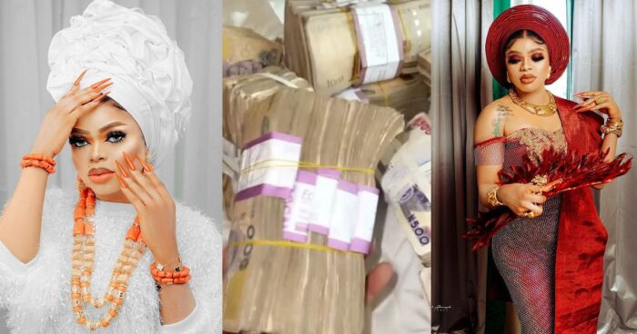 BIRTHDAY BLESSING!! Crossdresser, Bobrisky Shows Off Cash Gift He Received From Encouragers (Photo)