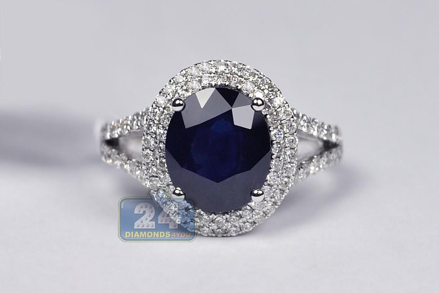 18K White Gold 5.63 Ct Blue Sapphire Diamond Womens Ring