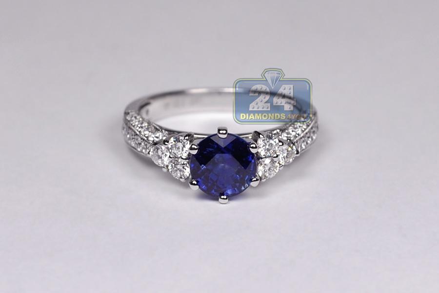 Womens Blue Sapphire Diamond Womens Ring 18K White Gold 3