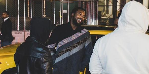 Meek Mill Flexes With Drake's OVO Chain In Series Of Photos