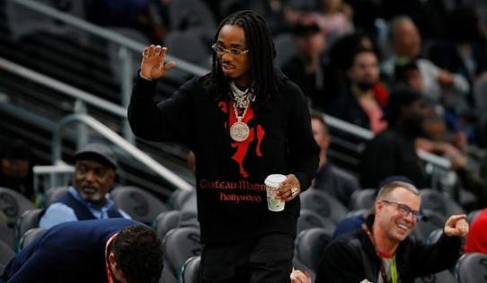 Quavo Shows Off His Drip At Atlanta Hawks Game