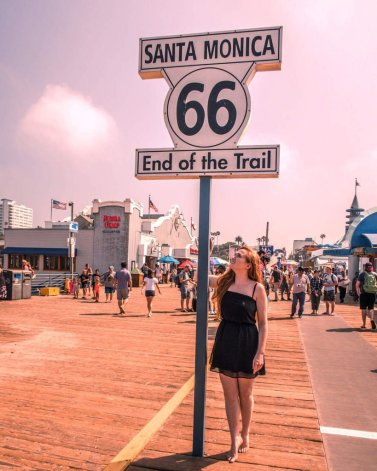 end of Route 66 sign LA