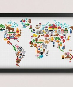 cross stitch embroidery world map
