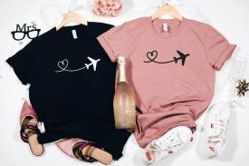 heart airplane mode t-shirt