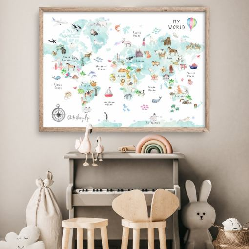 childrens world map wall hanging