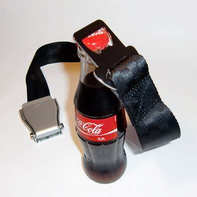 seat belt bottle opener