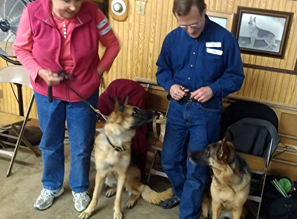 Kali (left) and Klara (right) from the Maika - Xbox K-litter along with Carolyn and Mike