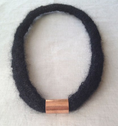 Black mohair and copper necklace
