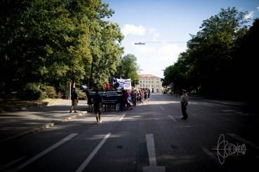 Demonstration in front of Regensburg central station.