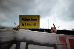 Counter protestor sign and middlefinger.