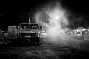 Fireworkers truck. w/ smoke