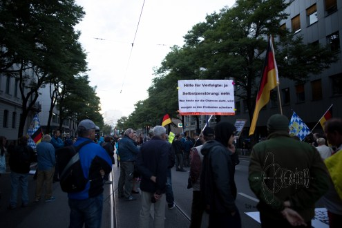 PEGIDA holding up a sign to only help real refugees.