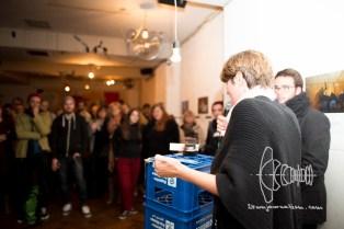 Claudia Stamm (B90/DieGrünen) speaking to audience.