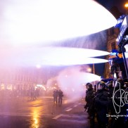 Neonazis already left the site as water cannons are fired on a peaceful crowd of demonstrators.