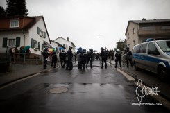 Police blocking street.