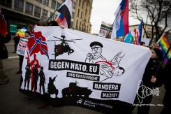 """Anti-imperialist Action Munich"" forms a small block. Statements by this group concerning conflicts with Russia, the Syrian civil war and the Middle-East are filled with conspiracies."