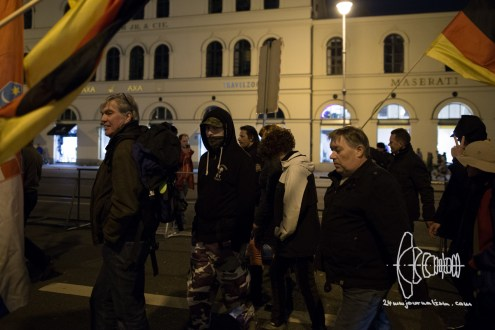 Mummed PEGIDA participant that stood amongst counter protest last week wearing a SECURITAS jacket.