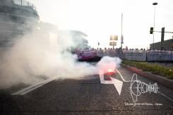 Smoke grenades at roadblock on Flughafenstrasse.