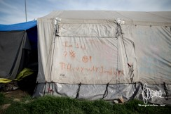 On one of the tents refugees left a message.