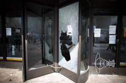 Smashed window of a bank.