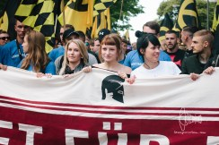 Women at the front-banner of the march in Berlin.