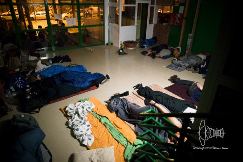 Activists sleep in a squatted school.
