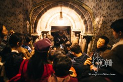 Tourists lining up to see the spot where Jesus Christ was supposively born.