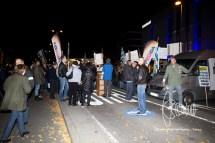 PEGIDA speaks as the road is blocked.
