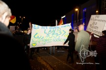 """Activists enter the PEGIDA cage and show a banner stating: """"It's also my country - refugess welcome"""""""