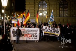 PEGIDA march in front of the opera of Munich