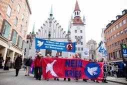Demonstration marches over Marienplatz.