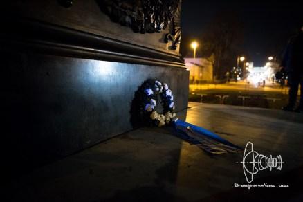Wreath deposited for fallen soldiers.