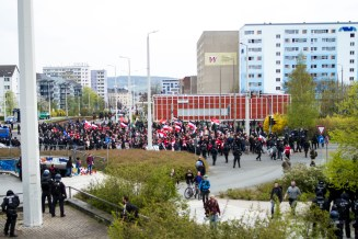 Neonazi demonstration an counter protest errupt in Plauen