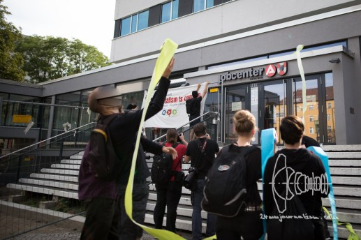 Activists decorate Jobcenter in Berlin Wedding