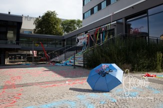 Activists decorate Jobcenter in Berlin Wedding